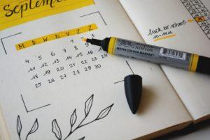 calendrier pour noter les evenements